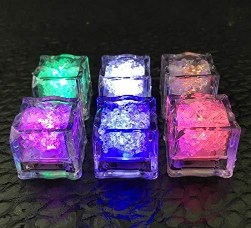 Glace lumineuse, 12 capteurs de liquide sans flamme - lumières de cube de glace de sept couleurs LED, mariage, anniversaire, Noël, artefact chaud de fête de célibataire