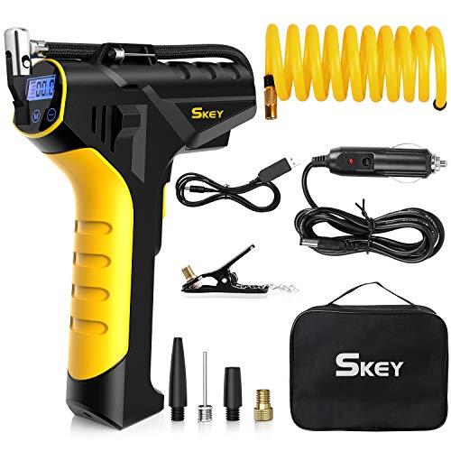 SKEY Akku Luftpumpe, 150 PSI 12V Elektrische Luftpumpe mit 2 Ladegeräte, 40-60L/Min Akku Luftkompressor mit 1,5M Verlängerungsrohr, ± 0.5 genaue Druckregelung, LED Lampe