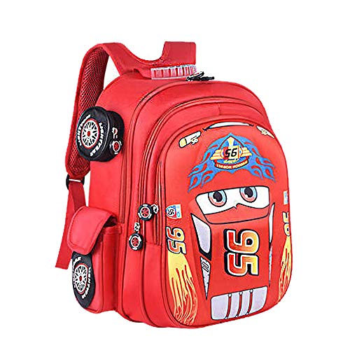 3D Racing Cars Design Waterproof Kindergarten Book Bag Boy's Schoolbags for Kids Primary School Backpack Bookbags for Children (Red, Large:H15.78*L11.81*W7.87 in)