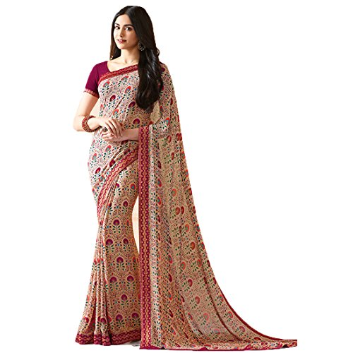 Sari Fashion New Eid Collection Indian/Pakistani Designer Ethnic Simple Look Saree Starwaik 31 (Beige)