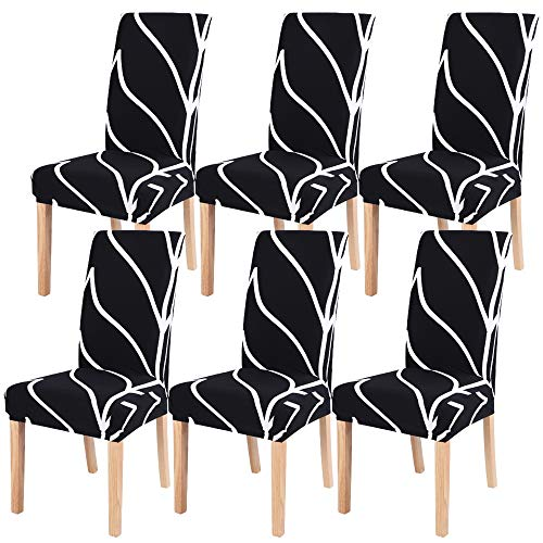 IVYSHION Dining Chair Covers Slipcovers Set of 6, Stretch Removable Washable Spandex Chiar Covers, Elastic Fit Super Chair Seat Protector Slipcovers for Dining Room Kitchen Hotel, Black Line