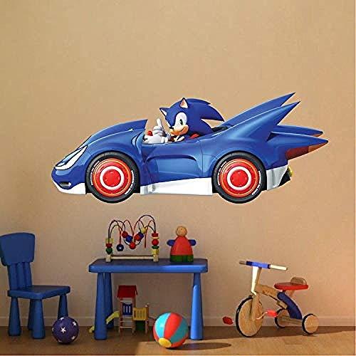 Etiqueta de la pared Etiqueta de Sonic The Racing Race Car Retro Wall Mural Art Boys Gaming Room Bedroom