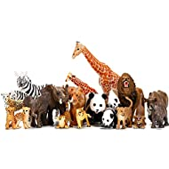 Safari Animals Figures Toys 20 Piece, Realistic Plastic Animals Figurines, African Zoo Wild Jungle Animals Playset with Elephant, Giraffe, Lion, Tiger for Kids Party Supplies Cake Topper