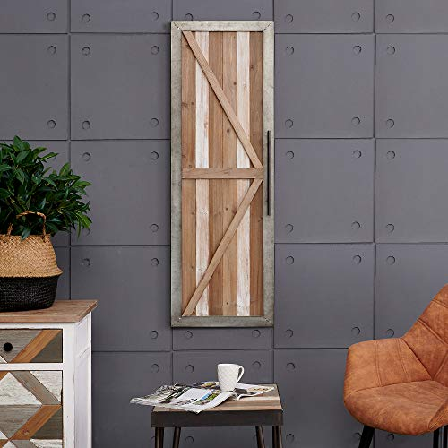 """FirsTime & Co. Granary Barn Door Wall Plaque, 46""""H x 16""""W, Antique Silver, White Wash Wood, Brown"""