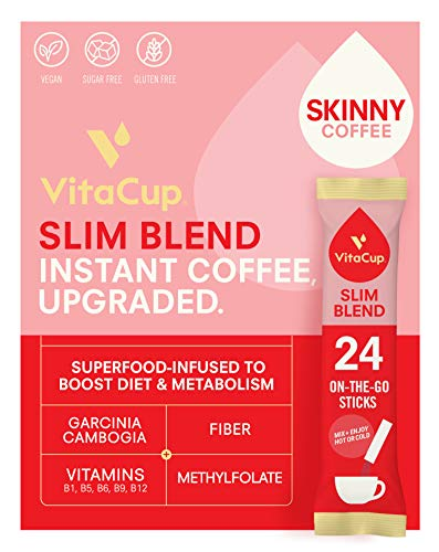 VitaCup Slim Coffee Instant Stick Hot or Cold Brew for Skinny Diet & Metabolism with Vitamins B1, B5, B6, B9, B12 Garcinia & Ginseng in Single Serve Packets 24 CT
