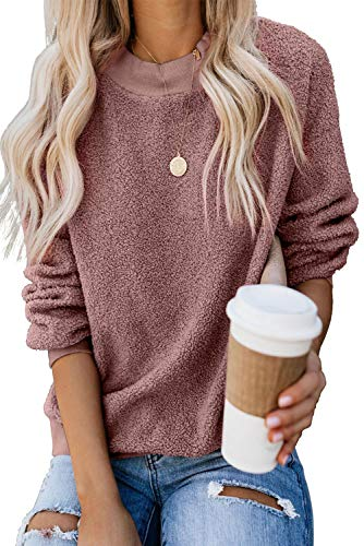 KINGFEN Long Sleeve Round Neck Sweatshirt Oversized Cozy Sherpa Chunky Fuzzy Furry Winter Warm Sweaters for Women Pink Sweater Long Sleeve Shirt Pullover Casual Solid Color Tunic Top Pink Large