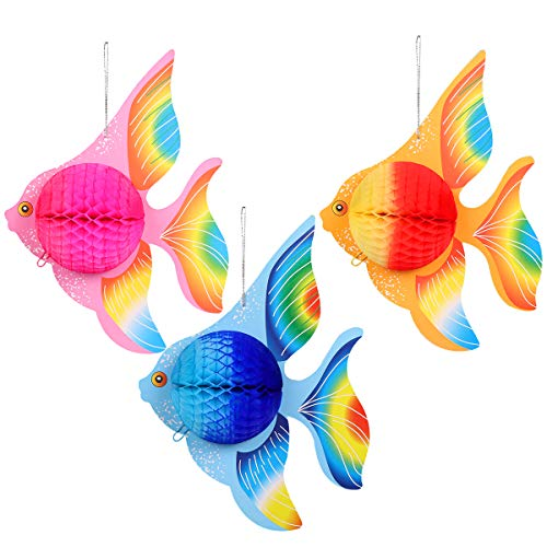 STOBOK Paper Foldable Tropical Fish Decoration, Honeycomb Ball Hanging Ornament, Home Bedroom Office Party Decoration Supplies - 6pcs (Gold + Pink + Blue)