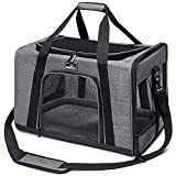 wakytu Pet Carrier for Small Medium Cats and Dogs   Dog Carrier with Adequate Ventilation   4 Mesh Windows, 3 Entrances, Locking Safety Zippers, Padded Shoulder, and Adjuable Carrying Strap