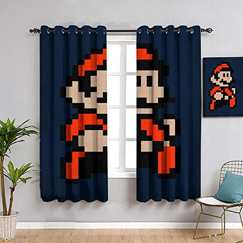 ICONIC MARIO 3 cortinas de tratamiento Super Mario oscurecimiento de habitación, cortinas anchas de 42 x 63 pulgadas