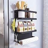 Foldable Refrigerator Organizer Magnetic Fridge Spice Rack Paper Towel Holder Multi-purpose Kitchen Storage Shelf Rustproof Spice Jars Holder, Black