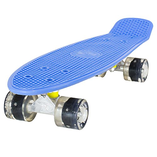 Land Surfer® Skateboard Cruiser Retro Completo 56cm con Tabla Coloreada Transparente - cojinetes ABEC-7 - Ruedas Que se iluminan 59mm PU + Bolsa para el Transporte - Tabla Azul/Ruedas Negras LED