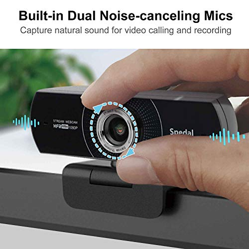 Webcam 60fps 1080P HD PC Web Kamera Streaming OBS Gaming Webcam Manual Focus USB Webcam mit Mikrofonen Desktop oder Laptop-Webkamera für Skype Facebook Kompatibel für Mac Windows