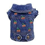 SILD Ropa para mascotas Perro Jeans Chaqueta Cool Blue Denim Coat Para Perros Pequeños Medianos Chalecos de Solapa Sudaderas Clásicos Cachorro Azul Vintage Lavado Ropa (L, Azul-Rojo)