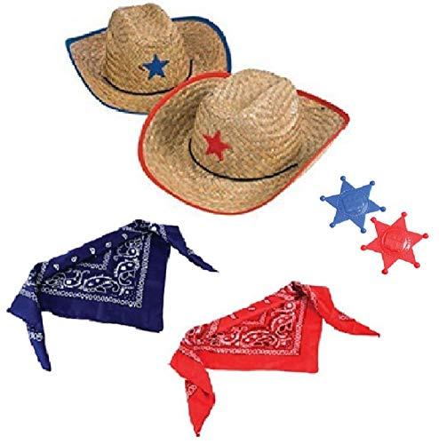 Novelty Treasures Costume Play Set Child Western Cowboy Hat, Plastic Sheriff Badge, and Matching Bandana Scarf (2 Sets)