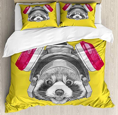 Juego de funda nórdica de cama de 3 piezas de animales, divertido dibujo de Panda rojo con máscara de gas Juegos de cama suaves con 1 funda de edredón y 2 fundas de almohada para niños niñas niños adu