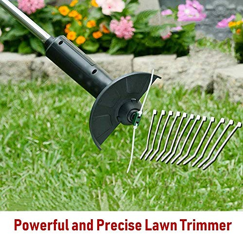 BDWN Cordless Electric Strimmer Handheld Grass Lawn Mower Lightweight Telescopic Cutters Grass Cutters Hedge Trimmers for Lawn Care Home Garden DIY Tools, 15 cm Cutting Width (S)