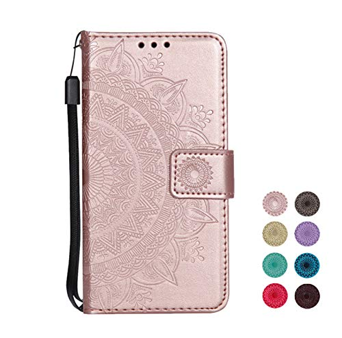 E-Panda kompatibel mit Samsung Galaxy A3 2016 Hülle Rose Gold Mandala Muster Design PU Leather Wallet Cover Flip klappbar Case HandyHülle LederHülle Tasche Etui schutzHülle mit Kartenfach