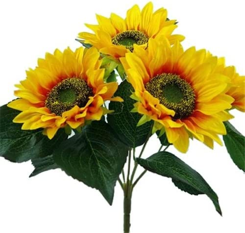 5 Blätter L35cm// Ø25cm künstlich !! Sonnenblumenstrauß mit 6 Blüten