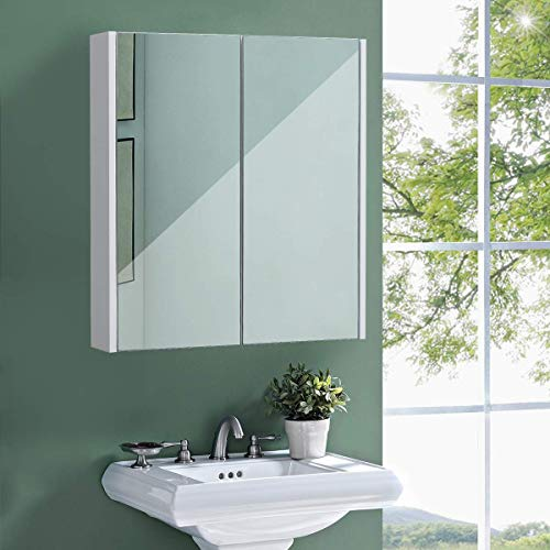 COSTWAY Mobile a Specchio per Bagno Armadietto Arredo con Specchio a Parete con Due Ante, Bianco, 65x62x11cm