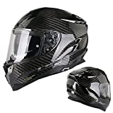 2019 New 6K Carbon Fiber Full Face Modular Motorcycle Helmet with Bluetooth Headset Set, DOT&CE Approved Breathable Warm Four Seasons Men Women L-3XL (57-63cm), Black, Blue,Glossyblacka,XXL