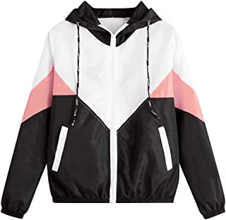 kitt Women Thin Skin Hooded Jacket Long Sleeve Patchwork Zipper Sport Coat Windproof Fall Coat