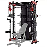 Commercial Home Gym - Smith Machine, Cables with Built in 160 kg Weights (Regular Red)