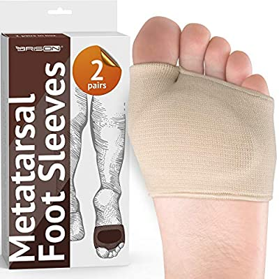 Metatarsal Pads - Gel Sleeves Forefoot Cushion Pads - Fabric Soft Foot Care Ball of Foot Cushions for Bunion Forefoot Mortons Neuroma Blisters Callus Supports Metatarsalgia Pain Relief - Men Women