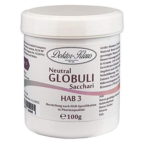 100g Neutral Globuli HAB 3, Doktor-Klaus, reine Saccharose, in weisser Kapselbox