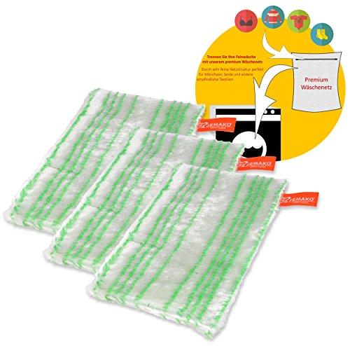 Jemako Spühltuch Visco-Line grün gestreift 3er Set Küchentuch Plus feinmaschige Wäschenetz 40x50 cm