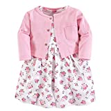 Luvable Friends Baby Girls Dress and Cardigan Set, Pink Floral, 6-9 Months (9M)
