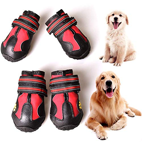 CovertSafe Dog Boots for Dogs Non-Slip, Waterproof Dog Booties for Outdoor, Dog Shoes for Medium to Large Dogs 4Pcs with Rugged Sole Black-Red