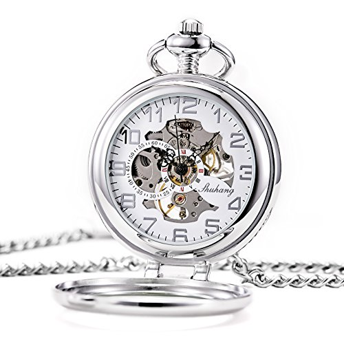 Treeweto Steampunk Reloj de bolsillo mecánico para hombres y mujeres, esfera de esqueleto plateada con cadena + caja