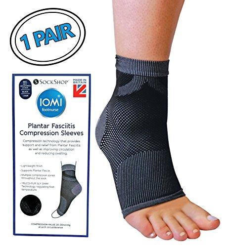 IOMI - Hombre y mujer compresion calcetines para fascitis plantar arco y tendon aquiles (Black, M/L)