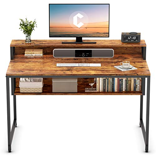 """Cubiker Computer Home Office Desk, 47"""" Small Desk Table with Storage Shelf and Bookshelf, Study Writing Table Modern Simple Style Space Saving Design, Rustic"""