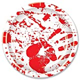 Beistle Halloween Party Decoration Bloody Handprints Plates,Red / White 9'- Pack of 8