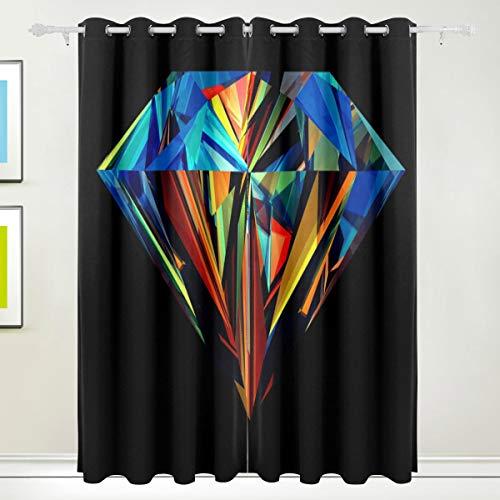 FANTAZIO verduisterende venster gordijn geometrisch diamant decoupeerzaag thermische isolerende kamer donker zon blok venster gordijnen panelen/Drapes 2panelen Set