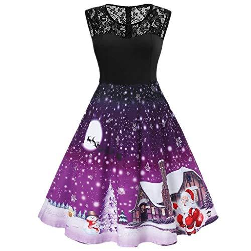 BaZhaHei Damen Weihnachtskleider Abend Party Swing Kleid Club Festival Karneval Kleid Langarm Weihnachten ärmelloses Kleid Elegant Cocktailkleid Abendkleid Brautkleid (XXL, Lila)