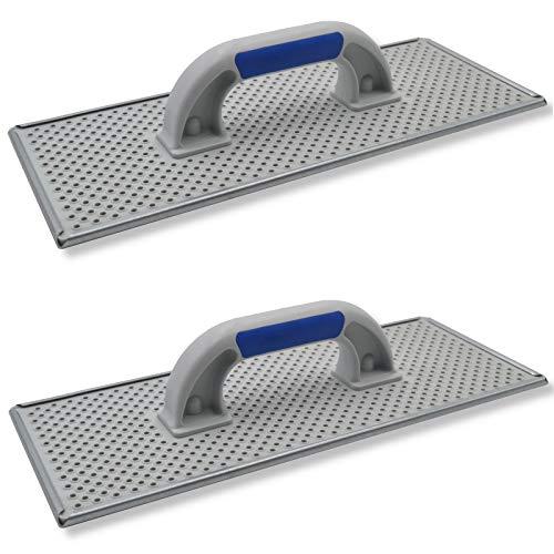 2er Set DEWEPRO® WDVS + Porenbeton Schleifbrett - Raspelbrett mit verzinktem Stahlblech-Raspelbelag - 380x160mm - Egalisierungsbrett - Handschleifer - WDVS-Schleifer