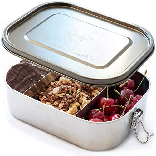 CF-Unity Brotdose Edelstahl Lunchbox auch für Kinder mit 3 flexiblen Fächern [100% Auslaufsicher] Plastikfreie Jausenbox 1400ml groß für Arbeit, Schule, Reisen