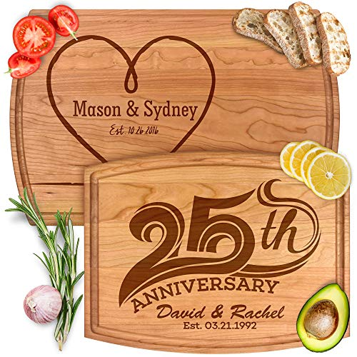 Personalized Housewarming, Anniversary & Wedding Gifts - 8 Unique Designs - Custom Engraved Wood Cutting & Serving Boards for Home & Kitchen