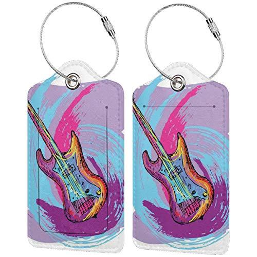 WINCAN Etiquetas para Equipaje,Instrumento de Guitarra Festiva de música Imprimir,2 Piezas Etiquetas de Equipaje de Viaje Etiquetas de Identificación de la Maleta para Maletas,Mochila