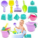 Fvcisshhu 12Pcs Mini Beach Sand Toy Set,Baby Bath Toys Snow Toy,Sand Bucket,Watering Can,Shovels Rakes Tools,Castle Molds for Kids Toddlers,Boys and Girls Gifts