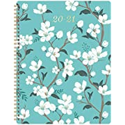 """2020-2021 Planner - Academic Weekly & Monthly Planner with Marked Tabs, 8"""" x 10"""", July 2020 - June 2021, Contacts + Calendar + Holidays, Twin-Wire Binding with Thick Paper - Teal Floral"""