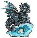 Le Elegant SS-G-71581 Blue Medieval Baby Dragon with Crystal Egg Nest Decorative Figurine, 7871581