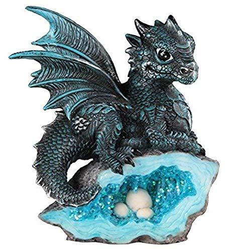 StealStreet ss-g-71581Azul bebé dragón Medieval con Cristal Huevos Nido–Figura Decorativa (