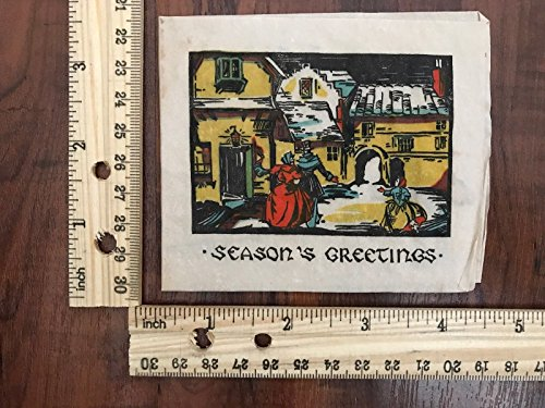 Vintage Greeting Card Merry Christmas Victorian Couple in a Village~114222