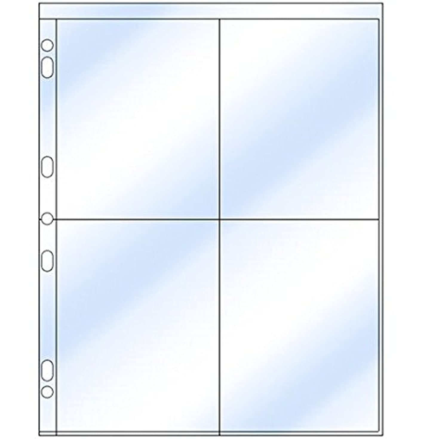 Clear File - Photo Page for 3-Ring Binders - Archival-Plus Safe Plastic - Four 4