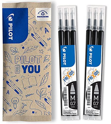 Pilot Pen FriXion 0.7 - Recambio de recambio para bolígrafo (6 unidades), color negro