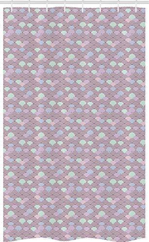 ABAKUHAUS Fischschuppen Schmaler Duschvorhang, Japanische Welle Pastell, Badezimmer Deko Set aus Stoff mit Haken, 120 x 180 cm, Mauve Taupe & Multicolor