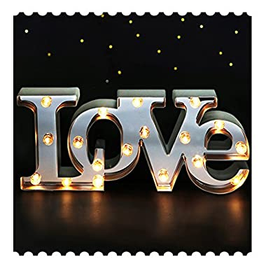 BRIGHT ZEAL 7  Tall Large LED  LOVE  Marquee Sign Letters (MIRROR IMBEDDED, 6hr Timer) -Marquee Letters with Lights Wedding Decorations -Decorative Signs for Home LOVE Decor Signs Wedding Decor Lights